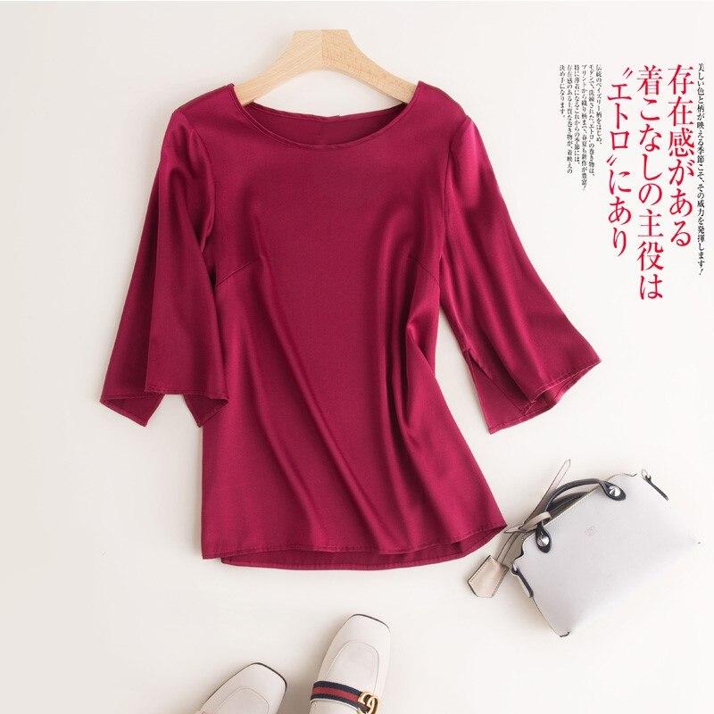 Leisure 100 Silk Loose OL Ladies ShirtWomen Solid Comfort Temperament Leisure O Neck Three Quarter Sleeves