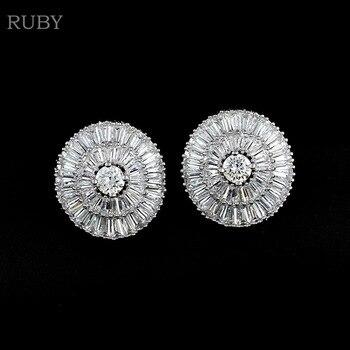 RUBY Fashion Jewelry Christmas Gift Zircon Earrings Platinum Plated Round Umbrella Shape Cubic Zirconia Stud Eearring For Women