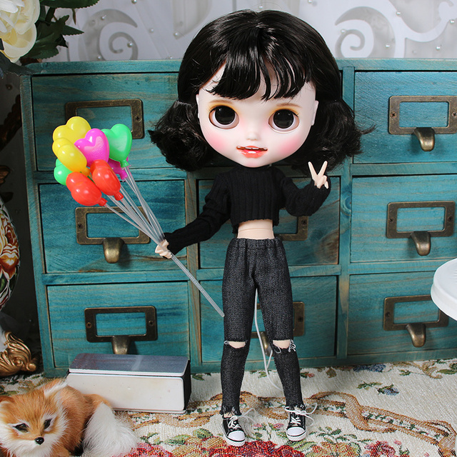 ICY blyth doll hand painted matte face white skin Short black hair suit doll with teeth lips eyebrows 30cm DIY BJD SD gift