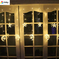 2.5M Moon Stars Light Curtain Hanging Lights Decor Ornaments Christmas Decorations for Home New Year Christmas Diy Ornamenys,L