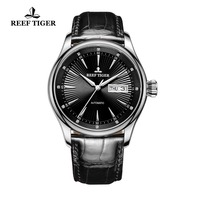 2019 Reef Tiger/RT Mens Dress Watch with Date Day Automatic 316L Steel Calfskin Strap Watches RGA8232