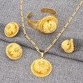 Bangrui 24 К Новый Позолоченный Невесты Свадебное Большой Кулон Ожерелье Браслет Кольцо Серьги Африка Эритрея Habesha Эфиопии Набор