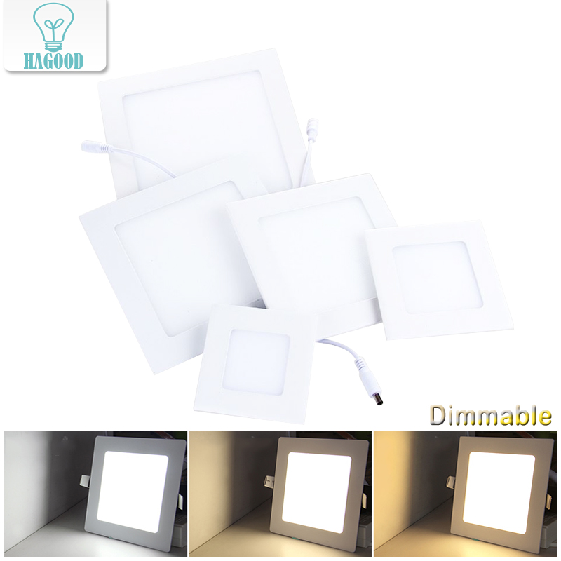 Ultra-thin Dimmable Real Full Power Square LED Panel Ceiling Lamp LED down light 3W/4W/6W/9W/12W/15W/18W/24W Warm/Cold White