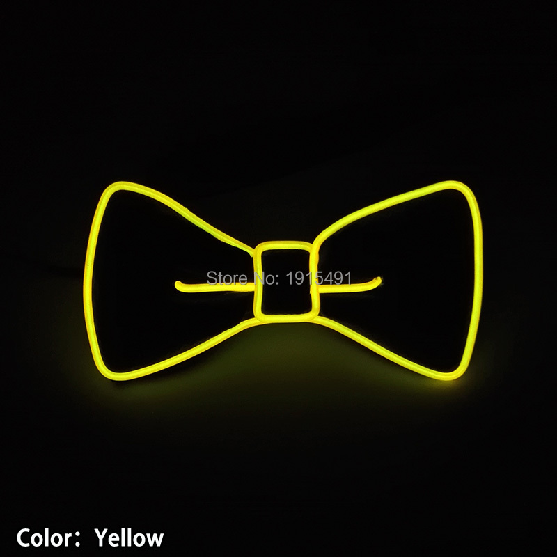 Cravat Yellow Led Neon Light Flashing Bowties Novelty Lighting EL Wire Cable Rope Bowknot Tie for Rave Costume Party,Halloween