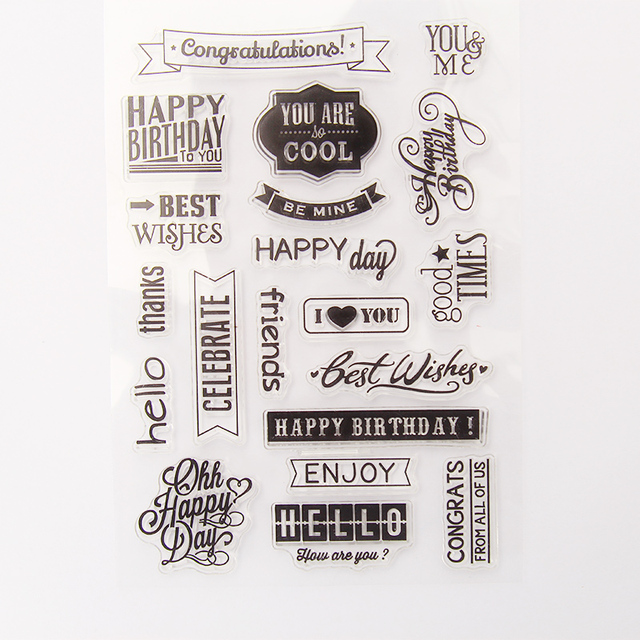 Vintage Happy Birthday Sentiment Transparent Silicone Clear Stamp For Scrapbooking DIY Craft Decoration Kids Stationery