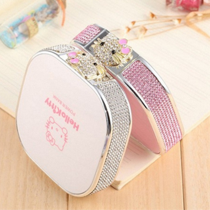 Цена за Роскошные 12000 мАч USB алмаз Hello Kitty кот Банк силы портативный Внешний аккумулятор зарядное устройство для Телефона powerbank