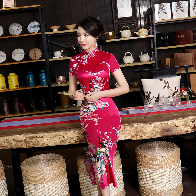 Rose Red Chinese Bride Wedding Dress 2019 New Sexy Long Cheongsam Elegant Slim Summer Qipao Plus Size S M L XL XXL 3XL