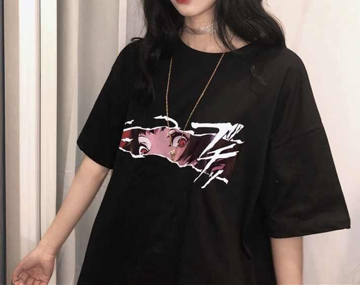 Hahayule Korean Fashion Ulzzang Anime Face Black T Shirt Harajuku Style Oversize Tee Gothic Grunge Clothing T Shirts Aliexpress