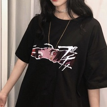 HAHAYULE Korean Fashion Ulzzang Anime Face Black T-Shirt Harajuku Style Oversize Tee