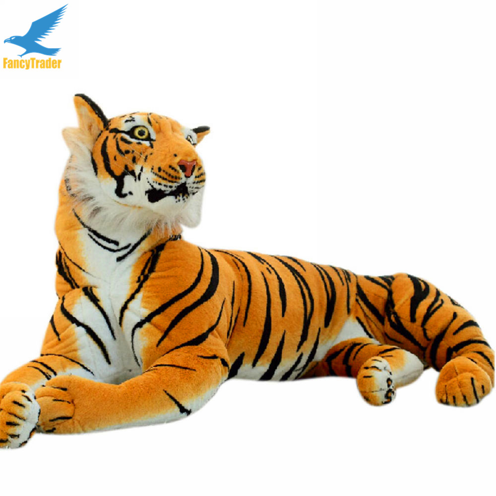 Fancytrader 67'' Jumbo Lifelike Giant Soft Plush Stuffed Simulation Emulational Tiger Toy Nice Gift 170cm Free Shipping FT50174 fancytrader 2015 new 31 80cm giant stuffed plush lavender purple hippo toy nice gift for kids free shipping ft50367