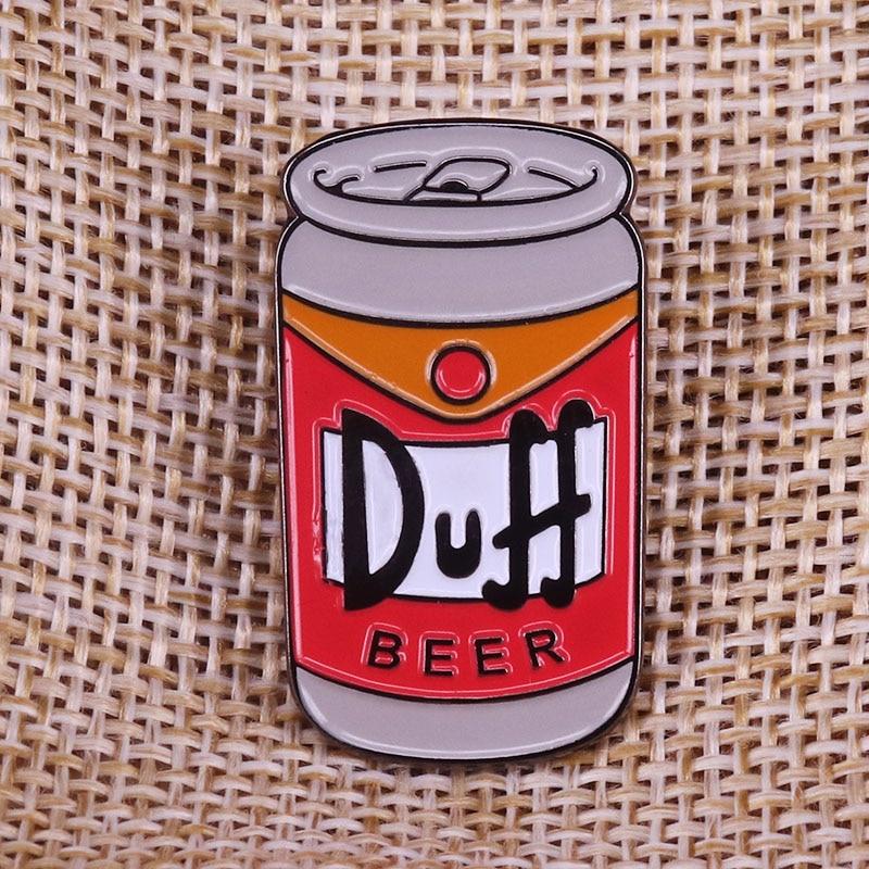 Duff Beer Simpsons pin badge brooch Duffman Birthday Gift for dad Bar Humor Art for Man Cave(China)