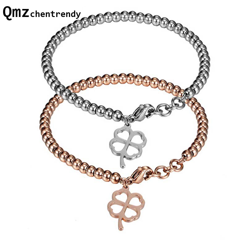 Fashion Silver Rose Plated Stainless Steel jewelry Men Women Four Leaf Clover Charm Beads bracelets Buddha beads Star Bangles