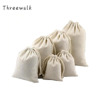 20pcs Cotton Muslin Wedding Party Favor Bags Pouches Medium unbleached  double cord drawstring closure Jewelry  8681222b1b42