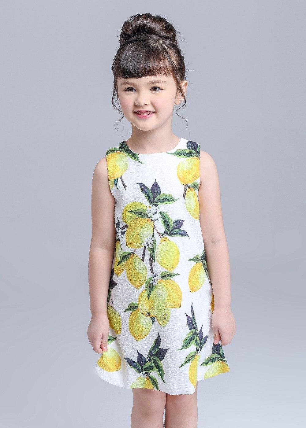Kimocat Girls Dresses Summer 2017 Party Dress Infant Lemon Color