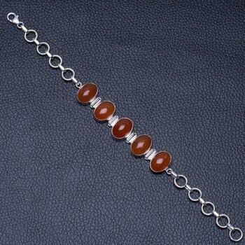 "Natural Carnelian 925 Sterling Silver Bracelet 6-8"" P2089"
