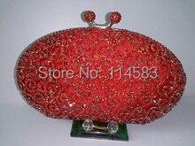 8204 красный кристалл леди мода металл вечер свадебные ну вечеринку полый металлический кошелек клатч мешка сумки