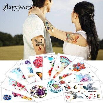 15*10.5cm glaryyears 100 Pieces Wholesale Laser Tattoo Temporary Body Flower Choker TG Pattern Tattoo Sticker for Adult Metallic
