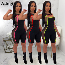Sexy Fluorescent Color Sheer Mesh Patchwork Jumpsuit Cut Out Sleeveless Fashion Bodycon Romper Cycle Playsuits