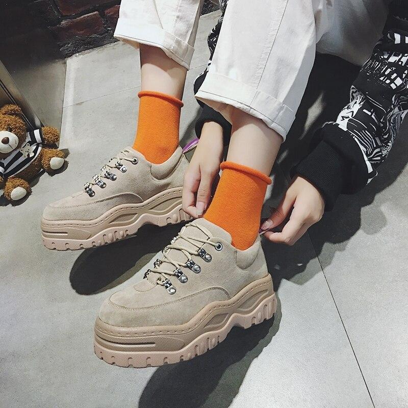 e0eb4fd6f9d De Coreana Plataforma Mujeres khaki Barco Casual Thick Versión Lace Bottom  Mocasines Plana Invierno Mujer Harajuku 2018 Black Las up Zapatos v4YStwx5qY