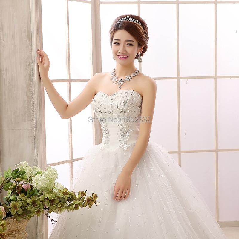 S 2016 New Stock Plus Size  Women  Bridal Gown Wedding Dress Bandage Slim Princess Tube Top Paillette Lace Long 552xnn