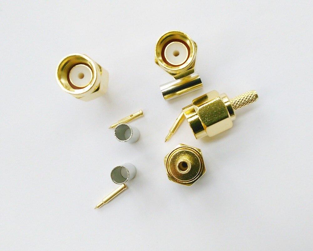 ФОТО 50 Pcs SMA Male Plug Crimp Connector LMR174 RG178 Cable