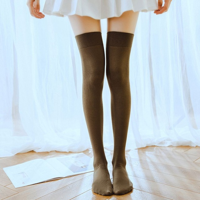 c484aa56d90 Sexy Medias Fashion Solid Knee Socks Women Cotton Thigh High Elastic Sexy  Over The Knee Stockings for Ladies Warm Long Stocking