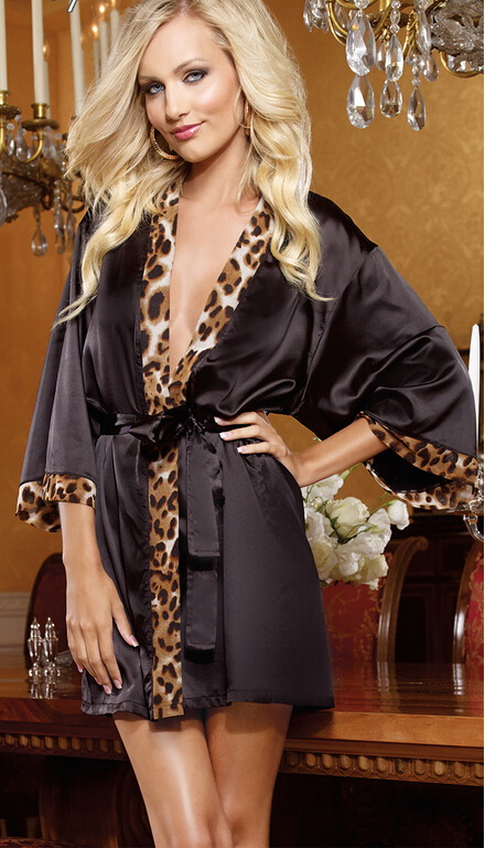 sexy lingerie Black heart seven leopard lace short-sleeved sexy bathrobe dress