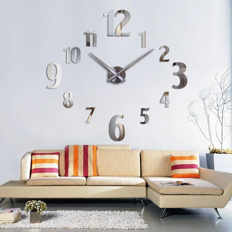 Sell Well Big Wall Clock Modern Design Acrylic Mirror Clocks  Diy 3d Stickers  Decorative Quartz Watch Study Room