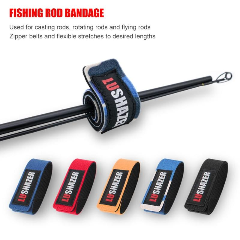 LUSHAZER 1pc/10pcs Fishing Rod Wrap Bundle Elastic Fishing Rod Fastening Strap Belts Rod Tie Fish Tackle Iscas Tools Pesca