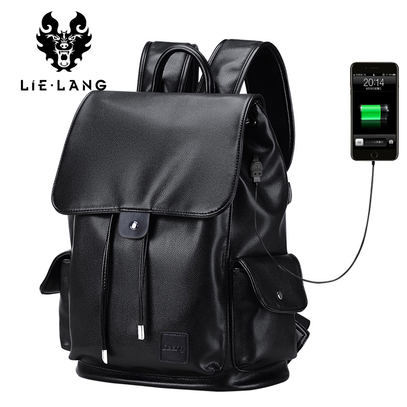 LIELANG Backpacks Men Fashion Leather Backpack For Male Double Shoulder Travel Bags for Teenagers USB Charge Waterproof Bagpack