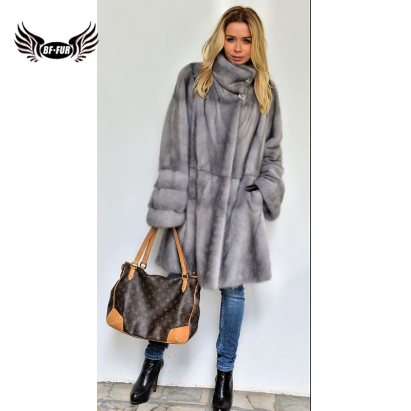 BFFUR 2018 New Arrival Genuine Mink Fur Outerwear Women Winter Coat Slim Solid Casual Jacket Ladies Leather Clothing Gothic Coat