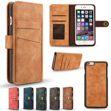 Vintage Leather Pouch Wallet Case For Apple iPhone 6 Plus 6S Matte Cover Magnetic Adsorption Cases Detached 2 in 1 Drop Shipping detachable 2 in 1 magnetic absorbed oil buffed leather wallet case for iphone 6 plus 6s plus red