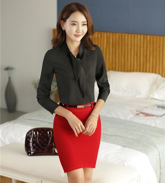 Novo Design Uniforme Fino Forma Formal Ternos de Trabalho Com 2 Peça Tops E Saia Para As Mulheres de Negócios Saia Ternos Outfits