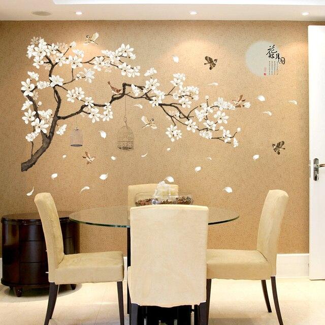 Große weiße familie baum wand aufkleber für wohnzimmer klebstoff backrgound  abziehbilder