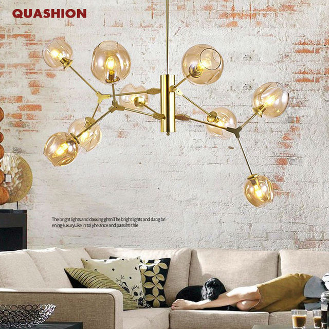 New Design Modern Glass Shade Retro Lindsey Adelman Pendant Lamp Black Gold Bar Stair Dining Room