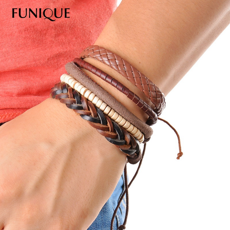 Us 1 25 53 Off 1set 3 4pcs Leather Bracelet Men Braid Multilayer Bead Punk Wrap Bracelets Bangles Women Vintage Casual Male Jewelry In