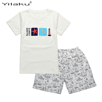 Yilaku Children's Clothing Sets Boys Summer Cartoon Clothes Kids Clothing Set Short Sleeve T-shirt+Pants Casual Outfits CF473