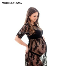 fashion Couple Maternity Dresses Summer Photography Dress Lace Pregnant Women Fancy Photo Shooting