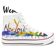 Wen Original Shoes Hand Painted Sneakers Design Custom New York City Skyline Women Men's High Top White Canvas Sneakers