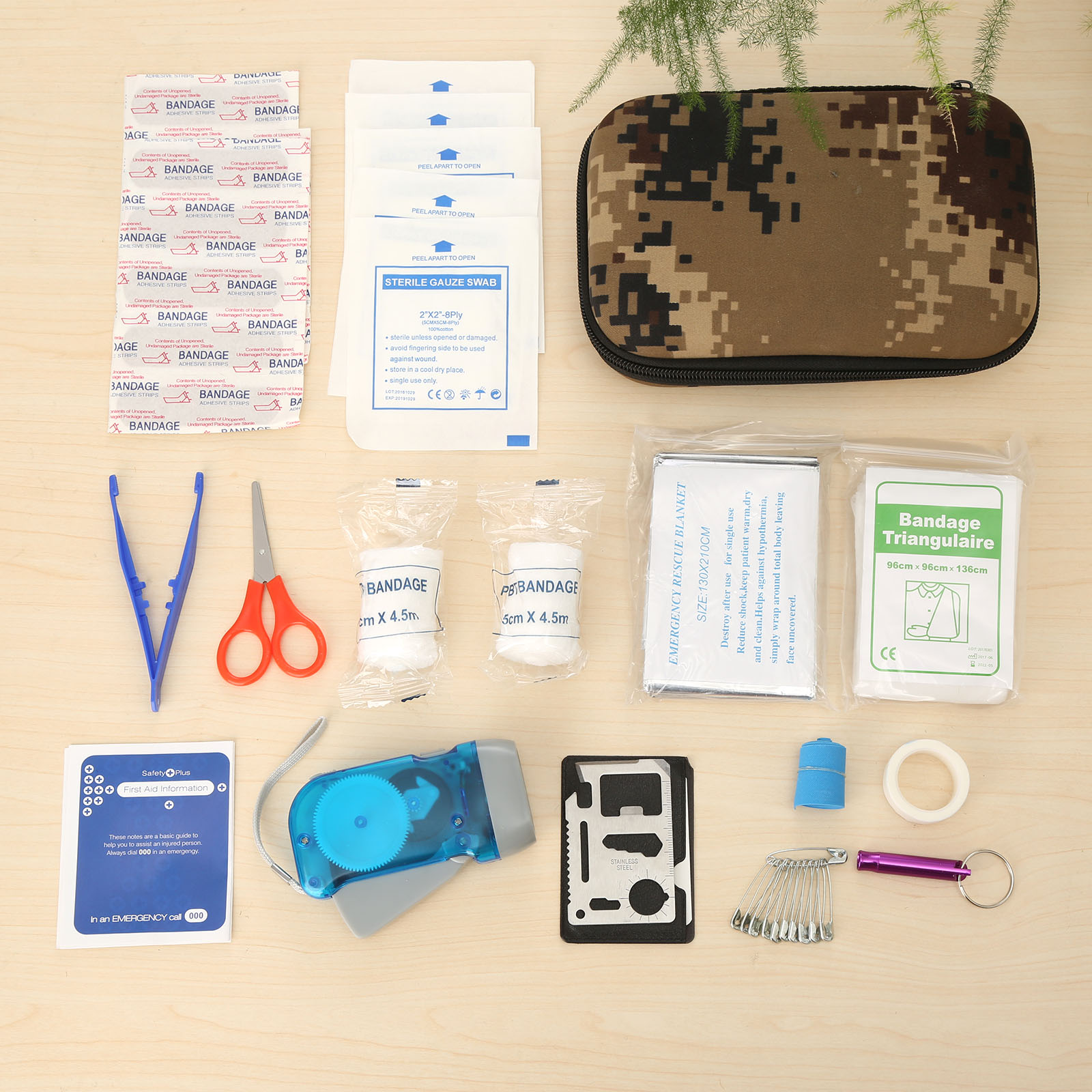 16Sets (39pcs) Field Camouflage Travel /Car First Aid Kit Eva Bag Pouch Medical Emergency Survival Kits Portable Treatment Pack