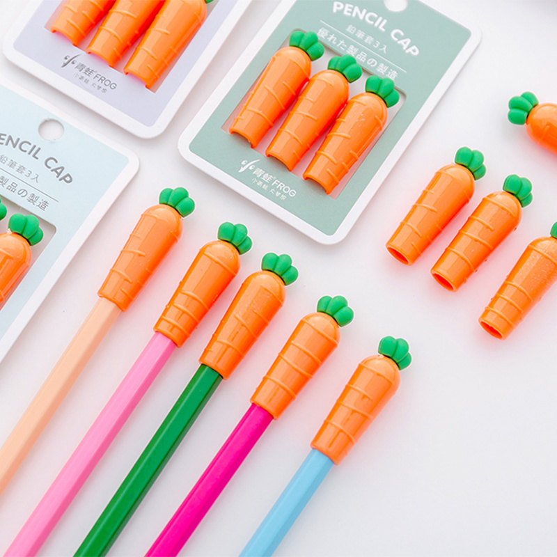 3 Pcs/pack Kawaii Vegetable Carrot Chick Shape Pen Pencil Cap Stationery Plastic Pencil Grip For Kids Gift Pencil Caps Hats