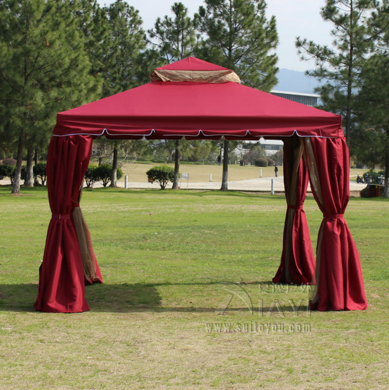 3*3 meter aluminum deluxe outdoor gazebo patio tent pavilion with sidewalls and gauze fo ...