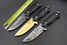 3 Options Aluminum Handle Tactical Straight Knife 5CR13 StoneWashed Fixed Blade Survival Hunting Knives 1518#