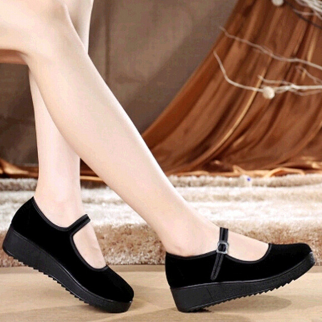 Footwear Dress Women Shoes Pumps High Heeled Platform And Wedges Black Mary Jane Creepers Canvas China Belt Buckle Thick Soled