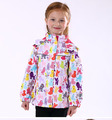 Free shipping- children/kids/girls spring/autumn jacket w cute animal print, a little waterproof and windproof, size 92 to 116