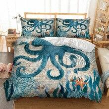 3D squid sea duvet cover bedding set single twin full queen king size polyester bedlinen dropship