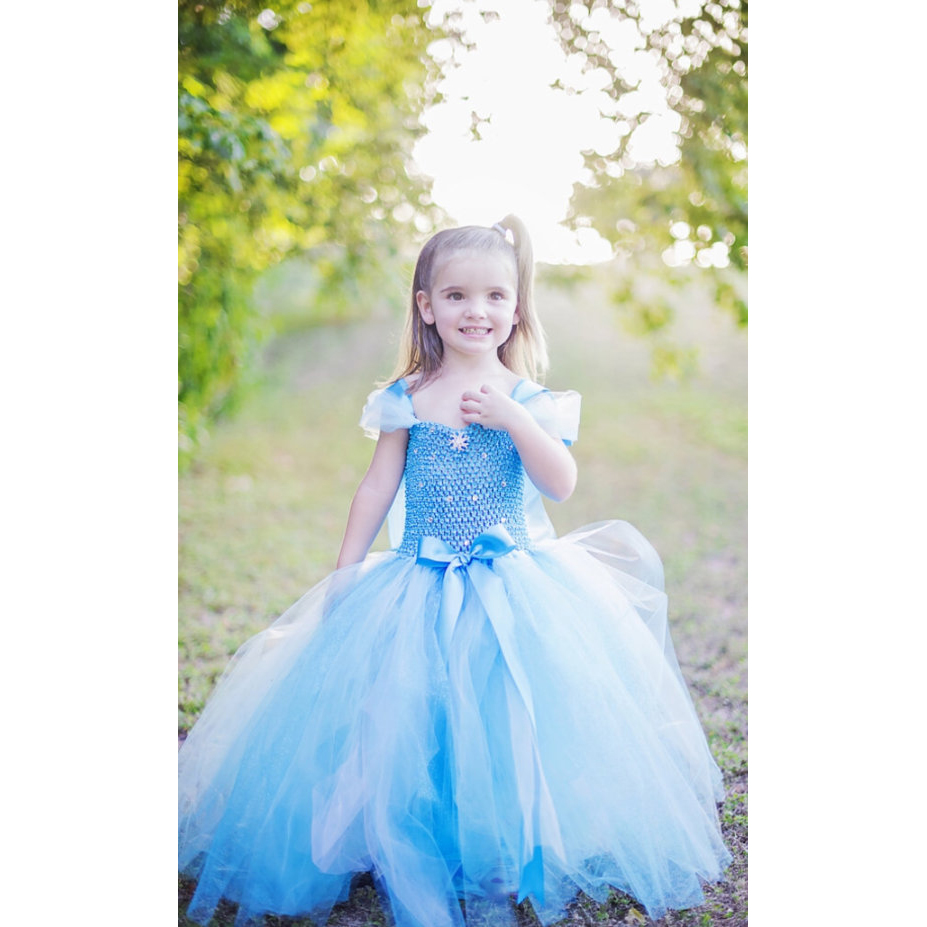 Kids Girls Froze Princess Custome Dress Snow Queen Tutu Dress Girls Cosplay Party Halloween Fancy Dress Ankle Length Tulle Dress fairy tale dress kids halloween princess cosplay dress