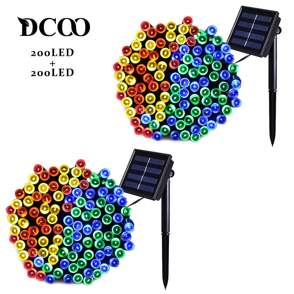 Dcoo 2 Pieces 8 Modes 72ft 22m 200 LEDs Solar LED String Lights Waterproof Solar Fairy String Lights Outdoor Party Lights Garden ledertek solar christmas lights 22m 200 led multi color 8 modes solar fairy string lights for outdoor wedding christmas party