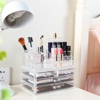 Doug transparent acrylic cosmetic box, jewelry box with drawer makeup lipstick storage box 23.8*13.3*18.6cm