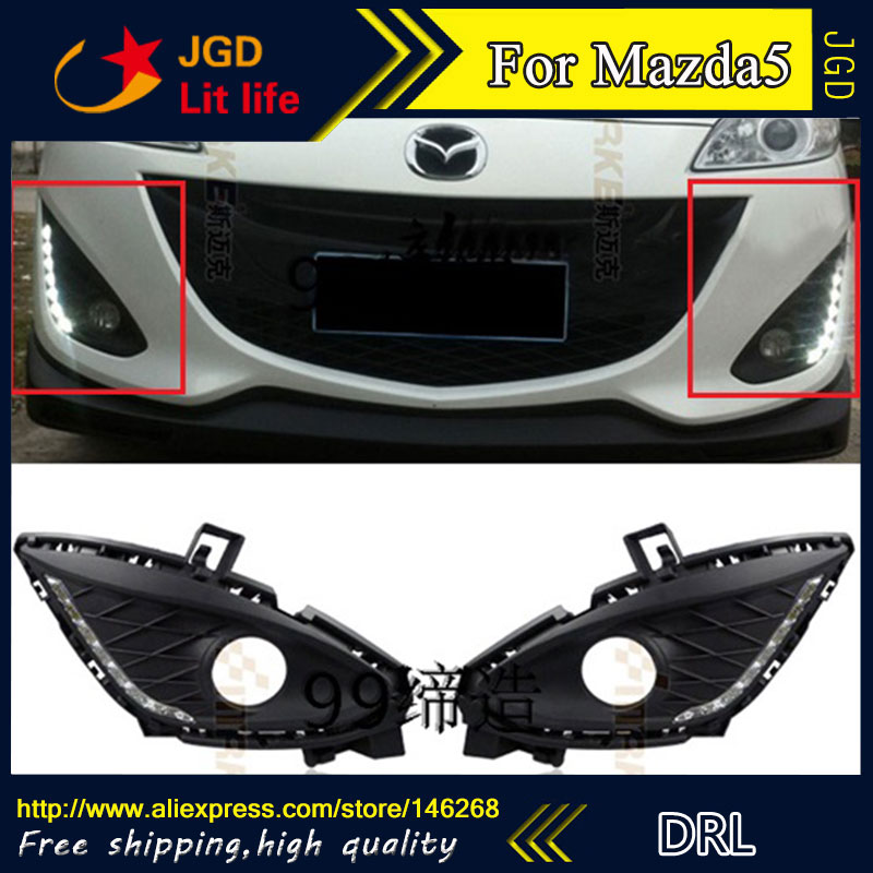 Free shipping ! 12V 6000k LED DRL Daytime running light for Mazda5 M5 2011-2013 Fog lamp frame Fog light Super White